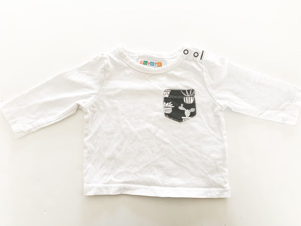 Coyote and co. White LS a shirt with cactus print pocket (0-3 months)