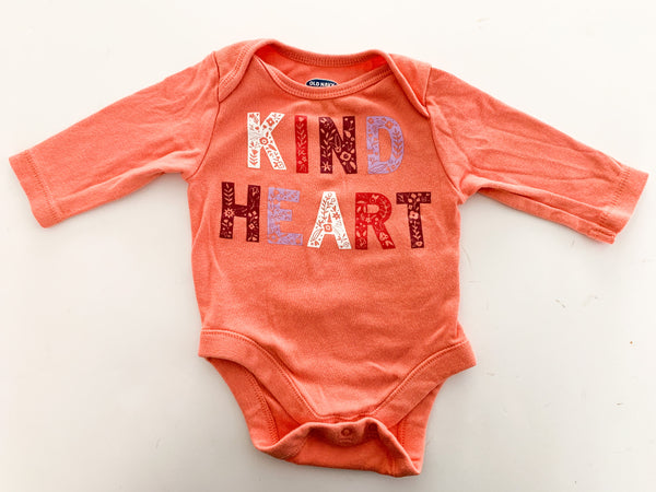 Old Navy kind heart orange onesie (0-3 months)