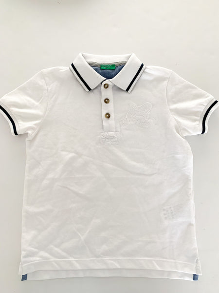 Benetton white golf shirt with navy details size: S (6/7Y)