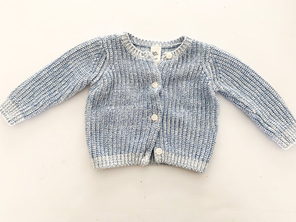 Baby B'gosh blue & white cable knit cardigan size: 12 months