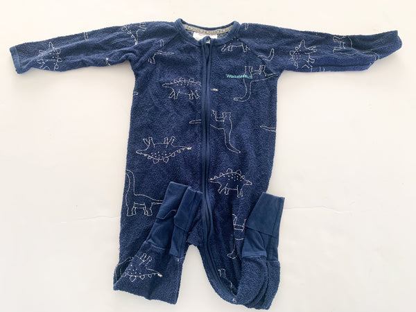 Bonds navy terry dinosaurs wondersuit  (12-18 months)