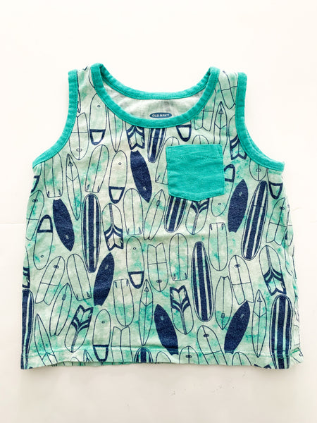 Old navy green surfboard tank top (18-24 months)