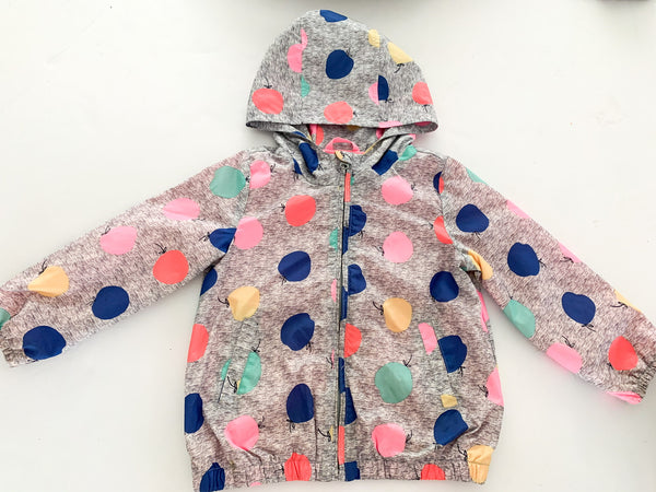 Baby Gap grey rain jacket with balloon print size 4Y