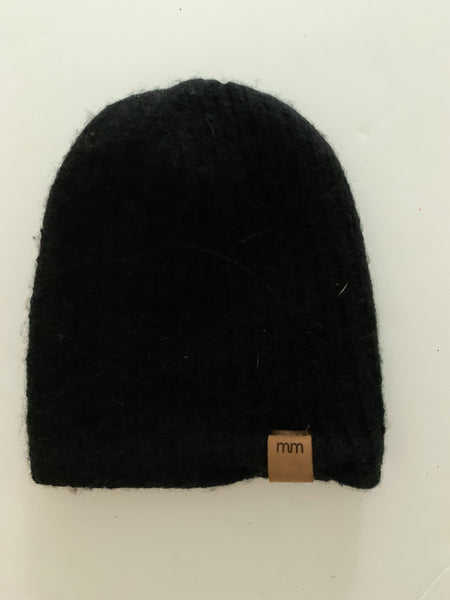 Mini Mioche black ribbed knit toque (3-6 months)