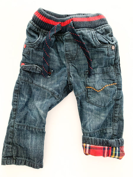 Next denim jeans with pockets and plaid lining (6-9 months)