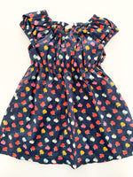 H&M navy cotton dress with apple details size 9-12 months