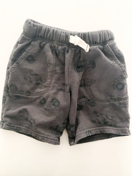 Carter's grey race car print sweat shorts size 2T