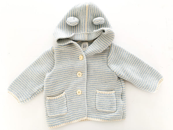 Baby Gap cream & light blue knit cardigan with hood size 3-6 months