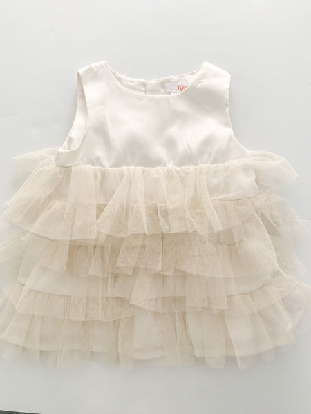 Joe Fresh satin dress with metallic gold tulle details size 3-6 months