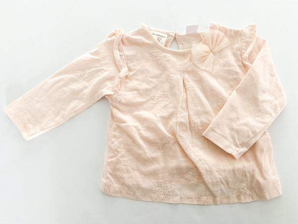 Zara pink long sleeve shirt with embroidered butterflies, ruffles & tulle now size 6-9 months