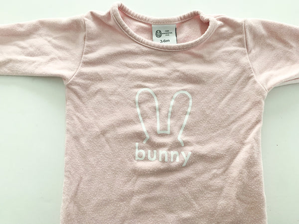 The whimsical fox pink bunny one piece (3-6 months)