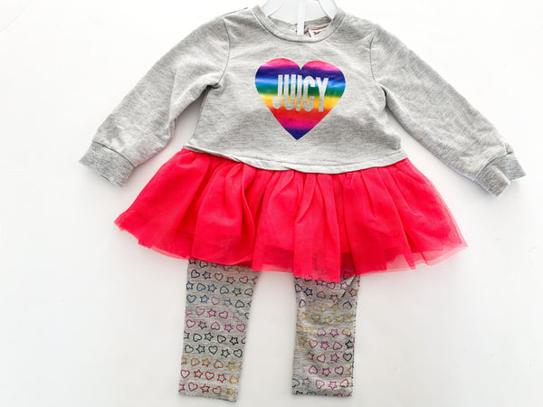 Juicy Couture grey with rainbow heart peplum tulle skirt with leggings set size 18 months