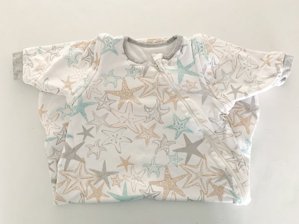 Nest Design 100% cotton white with seashell print long sleeve sleep bag size 12-18 months
