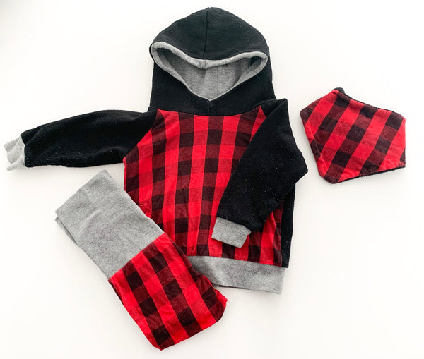 Wild Wonder red buffalo plaid hoodie/pants/bandana