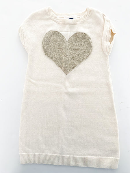 Old Navy cream short sleeve sweater dress with gold metallic heart size 2T