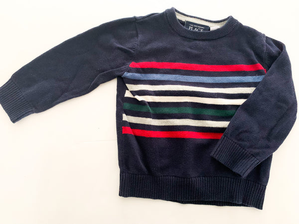 The Children's Place navy sweater with multi-coloured stripes shirt size 2T