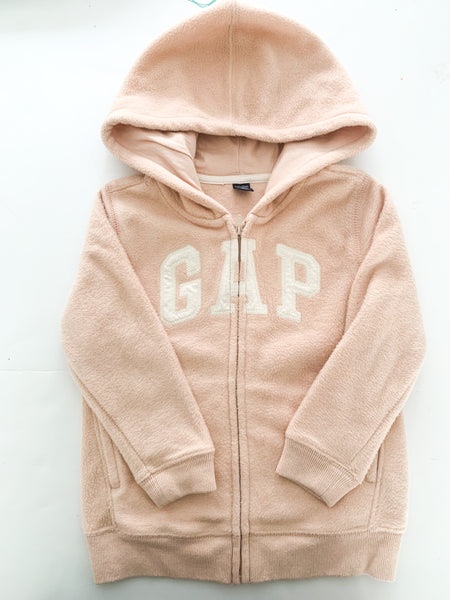 Gap pink fleece logo zip up hood (size 3)