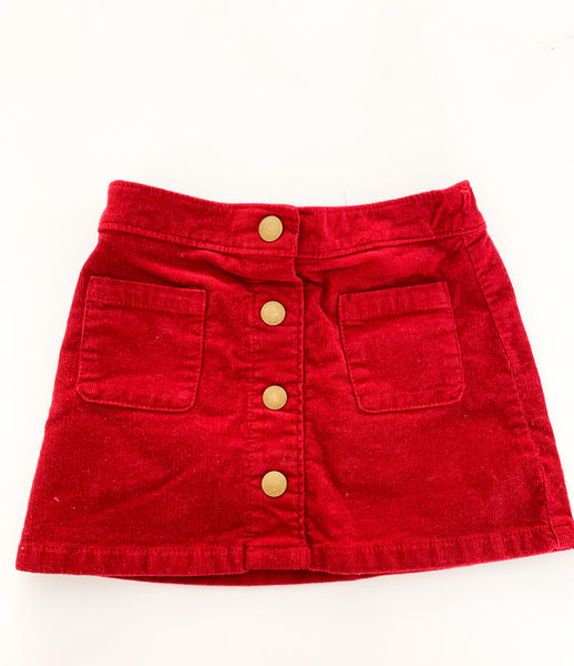 Old navy deep red cord skirt w/snaps (size 3)