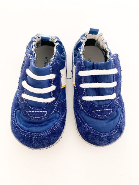 Robeez blue Velcro runners with white stripe (size 5)