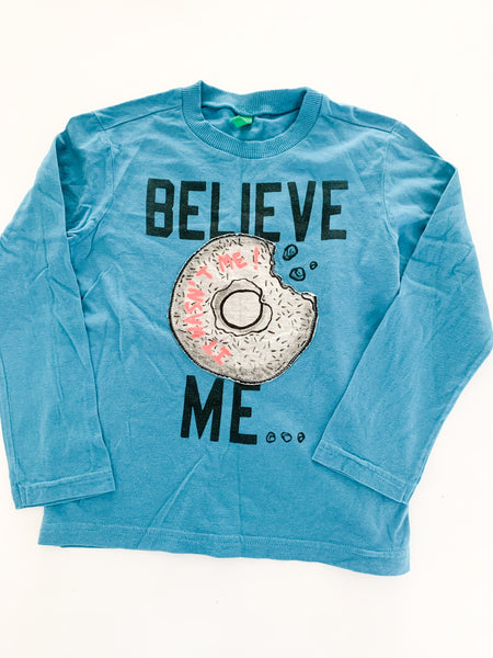 "Benetton ""believe me"" donut print soft long sleeve tee shirt size: XS (4/5Y)"
