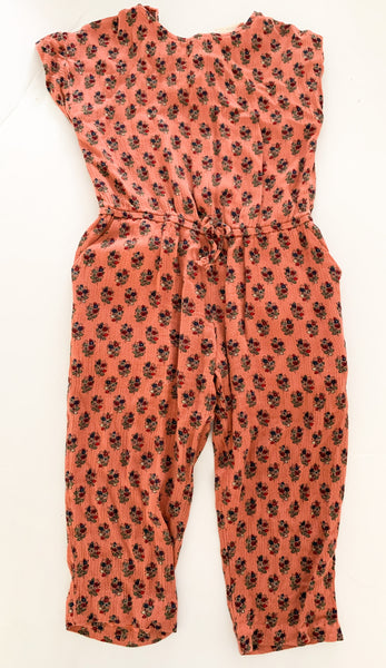 Zara coral with floral print cap sleeve romper size 4Y
