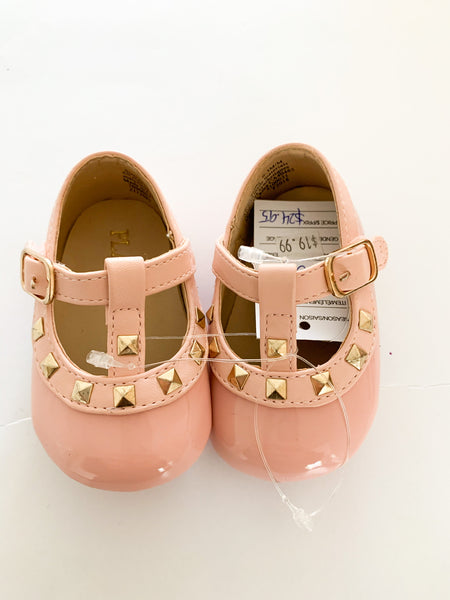 A Children's Place patent pink with gold studs flat shoes new with tags size: 0-3 months