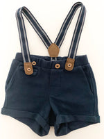 HM blue shorts w/suspenders(2-4 months)
