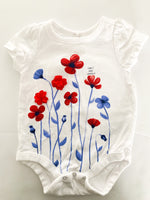 Gap blue and red floral white onesie  (0-3 months)