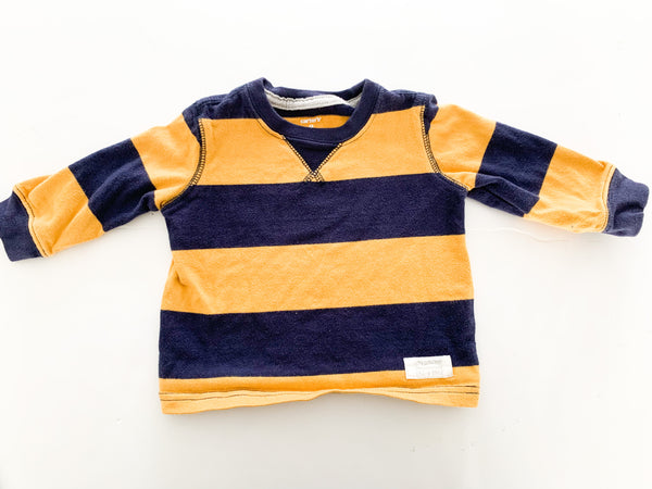 Carter's mustard and navy LS shirt  (9 months)