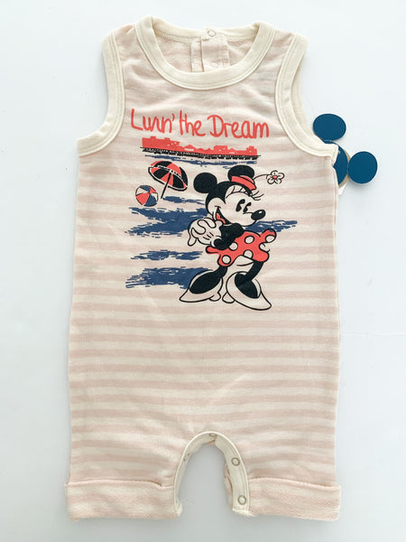 Junk Food stripe Minnie Mouse sleeveless romper (new with tags) size 6-9 months