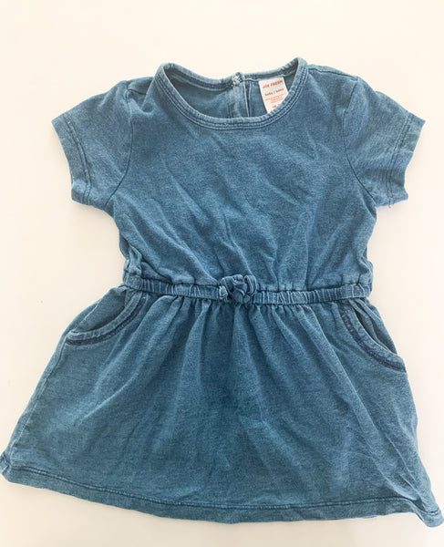 Joe Fresh blue cotton short sleeve dress size 18-24 months