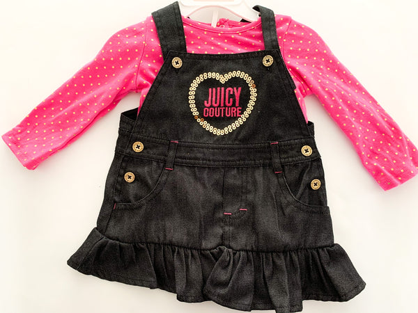 Juicy Couture denim overall dress with pink long sleeve & gold polka dots  size 12 months