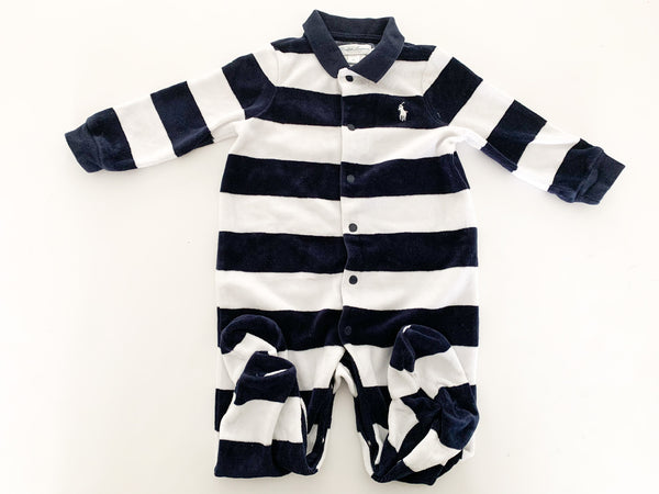 Ralph Lauren navy stripe velour long sleeve sleeper size 9 months