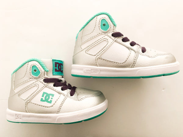 DC Unlimited silver, white and teal high top sneakers size 6
