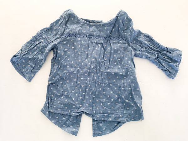 Old navy blue floral print LS shirt   (Size 5)