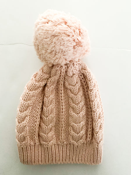 Gap peach cable knit toque with pom (0-6 months)