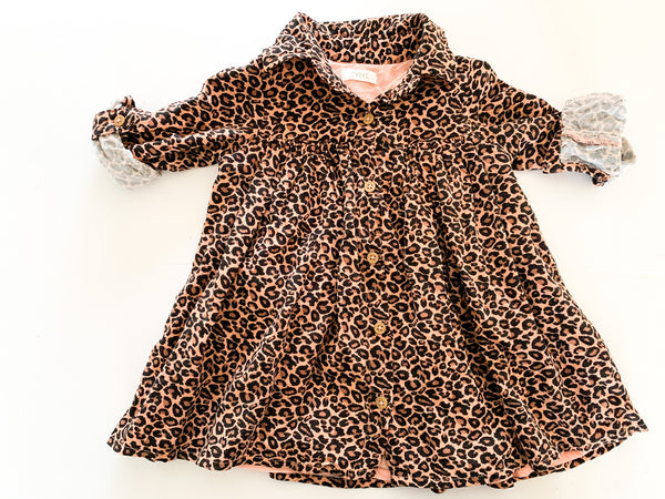 Next leopard print long sleeve button up collared dress size 9-12 months