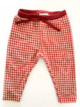 Zara burgundy mini buffalo plaid leggings size 9-12 months