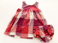 Tea purple/red plaid dress with bloomers (12-18 months)