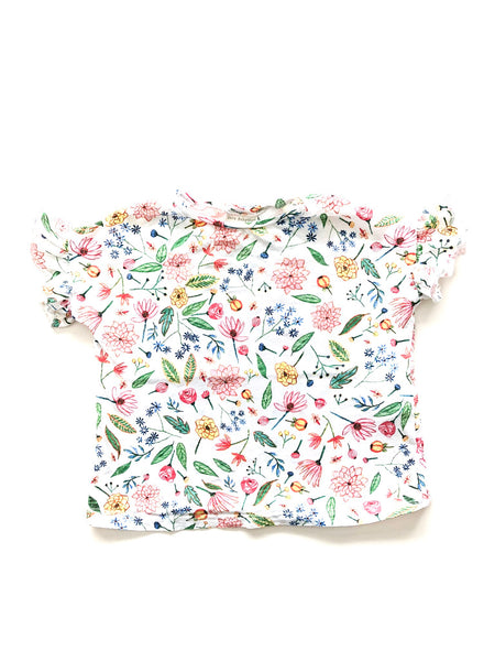 Floral ruffle tee