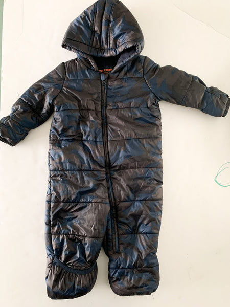 Joe Fresh brown & navy camo fleece lined snowsuit size 12-18 months