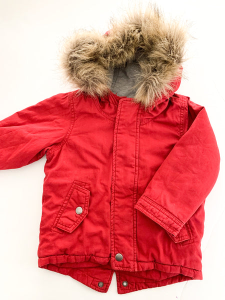 Old Navy red parka w/fur hood (size 2 )