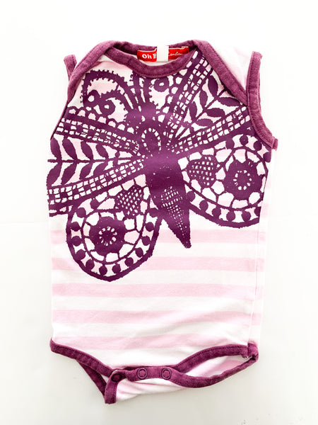 Oh baby London butterfly stripe body suit (0-3 months)