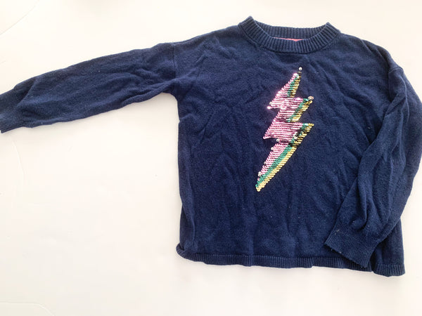 Boden baby pullover with sequin thunderbolt (5-6)
