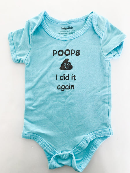 "Indigo Baby blue ""poops I did it again"" bodysuit size 6-12 months"