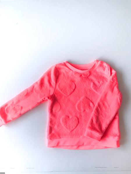 neon pink heart sweater