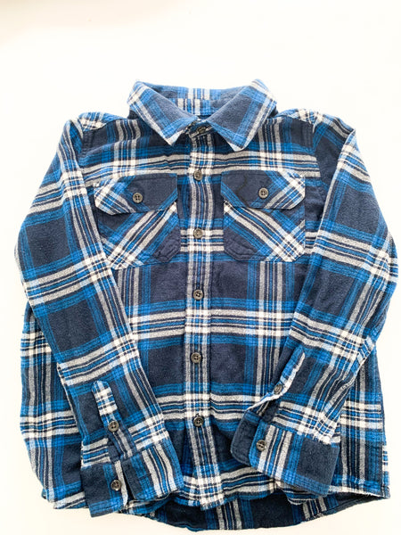 Sonoma blue plaid button flannel shirt (size 7)