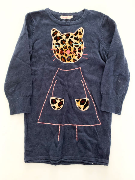Billieblush navy sweater dress with leopard print kitten size: 3T