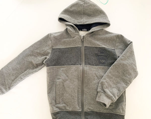 Gianfranco Ferre grey hooded zip up size 7/8Y