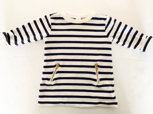 Old Navy nautical stripe dress with gold zipper details size: 3-6 months